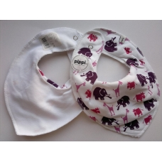 Pippi Scarf Bib with Animal Print, White/Red