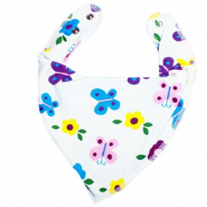 DryBib Bandana Bib – White with butterflies