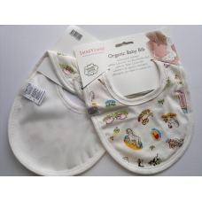 Organic Baby Cotton Bib - Farm design