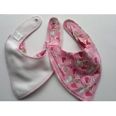 DryBib Bandana Bib - Pink with Hearts