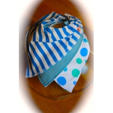 DryBib Bandana Bib - Blue Stripes/Blue/Blue Bubbles (Pack of 3)
